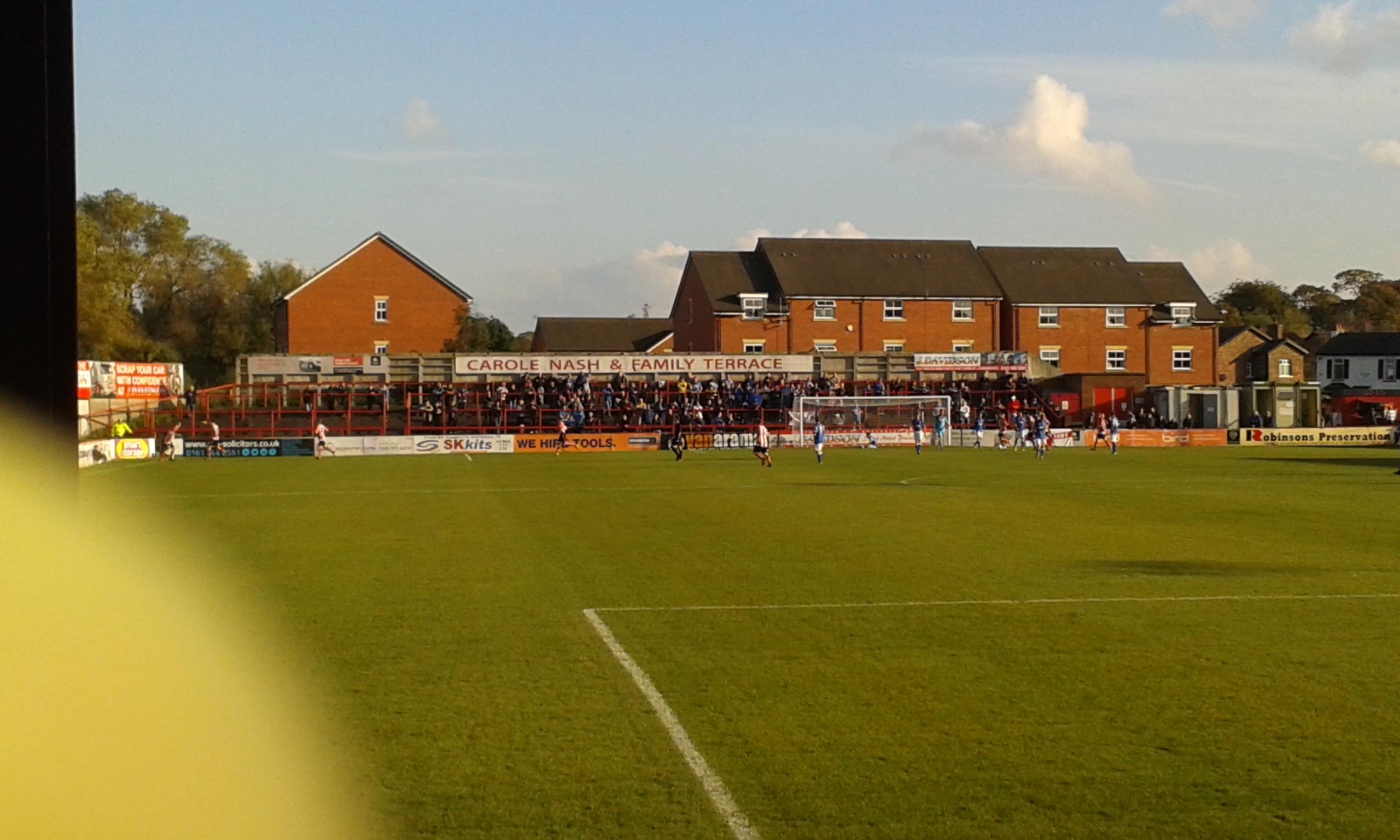 Altrincham celebrate their equaliser in front of the away fans